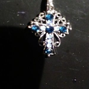 Nwot 1928 cross necklace with blue rhinestones